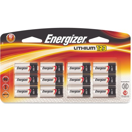 Camp and Hike This package of 12 Energizer CR123 lithium batteries provides long-lasting power for your flashlights and digital cameras, and other similar electronics. - $29.95