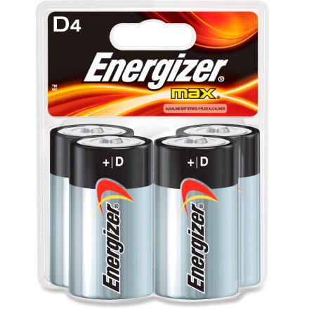 Camp and Hike Power your electronics with this package of 4 D Energizer MAX alkaline batteries. - $7.95