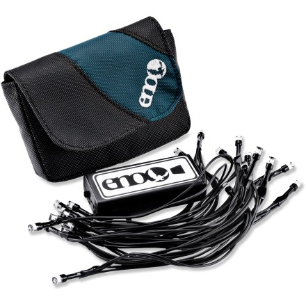 Camp and Hike The ENO Twilights LED string will light up your hammock, tent or campsite in a fun and functional way. 120-in.-long string of lights includes 23 LEDs that you can use to light up the night and add ambience. Includes a small pouch for convenient storage. 2 AA batteries (sold separately) provide enough power for a 72 hrs. of use. - $14.93