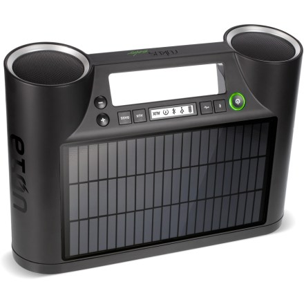 Fitness The portable Eton Rukus solar speaker system serves up sweet sound from your Bluetooth(R)-enabled smart phone, tablet or laptop-and it recharges in the sun! Bluetooth supports both AVRCP and A2DP profiles for effortless wireless connectivity. High-efficiency monocrystal solar panel soaks up solar energy to help keep the tunes cranking when you're jamming outside. USB port lets you recharge mobile devices from the internal, 7.4V/1,500mAh lithium ion battery. Energy-efficient E Ink(R) display offers high-contrast readability, even in direct sunlight. Full-range speaker drivers pump out great stereo sound. Storage net on the back holds a smart phone or music player. Rukus comes with 3 months of free music with access to the award-winning MOG music subscription service ($30 value); access nearly 15 million songs to stream whenever you want. The Eton Rukus solar speaker system features a carrying handle, AC adapter and auxiliary-in jack. - $150.00