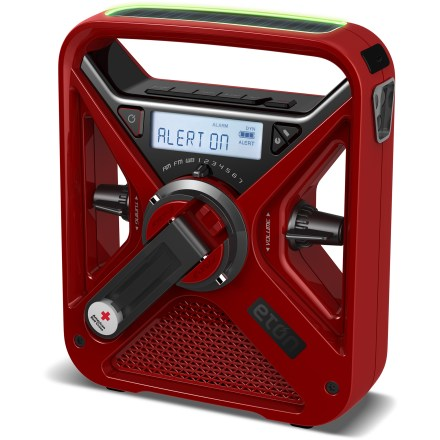 Camp and Hike The Eton American Red Cross FRX3 radio powers up with a hand crank or solar panel, keeping you informed and prepared for emergencies or travel whether you have a power source or not! - $38.93