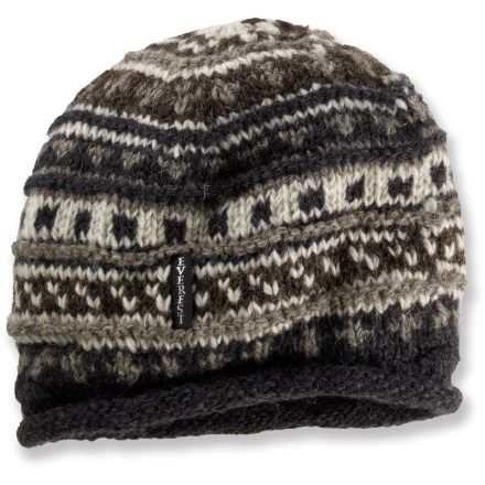 Entertainment The Everest Designs Texture Roll hat is hand-knit in Nepal using New Zealand sheep wool, then partially lined with plush, dense fleece to keep your head and ears warm. - $32.95