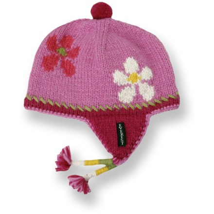 The Everest Designs Flower Child earflap hat combines the warmth of wool and the softness of polyester fleece. It's the perfect choice for keeping your toddler's head warm as the temperature drops. Fully lined in plush, dense fleece, this tightly knit wool hat gives toddlers the benefit of 2 layers of heat-trapping fibers. Braided tassels and pom add handmade charm. Handknit by women's knitting cooperatives in Nepal. Hand wash cold; lay flat to dry. - $12.83