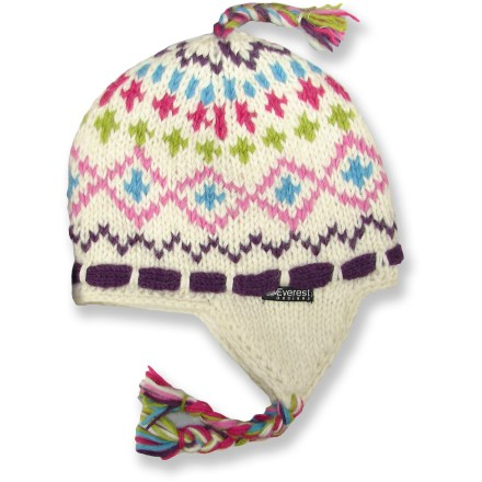 Entertainment The girls' Everest Designs Shasta earflap hat is handknit in the shadow of Mount Everest. It features warm wool construction and a comfortable fleece lining. Made of wool, this hat is warm, soft and breathable, to keep a girl comfortable in the great outdoors. Polyester fleece lining wicks away moisture and is soft next to skin. Hand wash in cold water and lay flat to dry. - $17.93