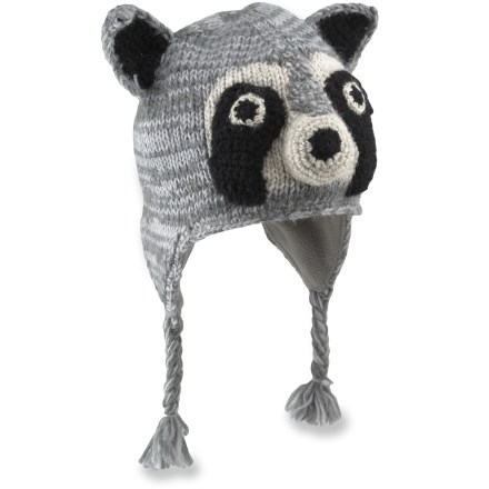 Entertainment The Everest Designs Raccoon earflap hat combines adorable fun with reliable warmth for your little boy's noggin. Warm, breathable acrylic knit stretches for the perfect fit. Polyester fleece lining adds a layer of soft and cozy warmth. The Everest Designs Racoon earflap hat is handknit by women's knitting cooperatives in Nepal. - $20.93