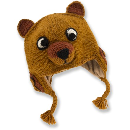 Entertainment The boys' Everest Designs Brown Bear earflap hat combines adorable fun with reliable warmth for your kid's noggin. Warm, breathable acrylic knit stretches for the perfect fit. Polyester fleece lining adds a layer of soft and cozy warmth. The Everest Designs Brown Bear earflap hat is handknit by women's knitting cooperatives in Nepal. - $14.83
