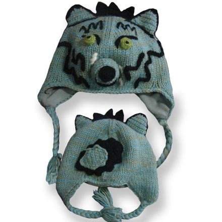 Entertainment The girls' Everest Designs Wolf earflap hat combines adorable fun with reliable warmth for your girl's noggin. Warm, breathable acrylic knit stretches for the perfect fit. Polyester fleece lining adds a layer of soft and cozy warmth. The Everest Designs Wolf earflap hat is handknit by women's knitting cooperatives in Nepal. - $6.83