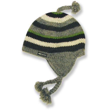 Entertainment The Everest Designs Stripe earflap hat is perfect for boys who want to stay warm and show their true stripes as winter-loving adventurers. Warm, breathable wool knit supplies excellent insulation, even when wet. Soft, non-pilling polyester fleece lining provides good thermal retention. Earflap design provides full coverage for optimal warmth. The Everest Designs Stripe earflap hat is handknit by a women's cooperative in the shadow of Mount Everest. Hand wash in cold water and lay flat to dry. - $18.93