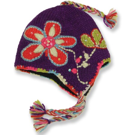 Entertainment The Everest Designs Wildflower earflap hat helps kids' heads stay warm while walking in a winter wonderland. - $7.83
