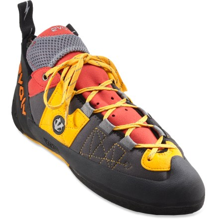 Climbing Comfortable for all-day wear, the evolv Demorto rock shoes perform well on long trad climbs and afternoons at the sport crag. Variable Thickness Rand technology features toe rands of varying thicknesses to enhance durability in high-wear zones, such as the front of the toe, without being cumbersome. High-performance 4.2mm TRAX XT-5 high-friction rubber soles cling to rock. Flexible and durable Synthratek synthetic suede uppers resist stretching and dry quickly; breathable mesh tongues and perforated uppers allow airflow. Full-length MX-P 2mm midsoles have medium stiffness for edging power on long face routes yet are flexible enough for smearing. KSA-1 lasting delivers a symmetric toe profile that is comfortable for long days of climbing; profile accommodates Morton's toe. Microfiber lining adds comfort by managing moisture inside. evolv Demorto rock shoes have rear heel loops to ease entry. - $95.93