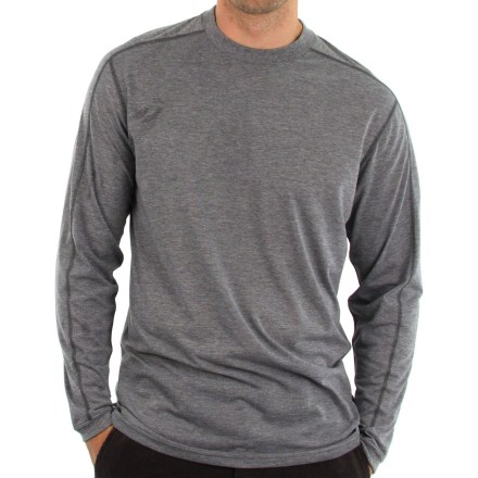 The ExOfficio ExO Dri(TM) Crew shirt offers the fit and feel of an old favorite with the added performance you need for an active lifestyle. Features dri-release(R) polyester/cotton blend that wicks moisture and has cottonlike softness to keep you comfortable. Freshguard(R) odor neutralizer helps prevent bad odors from attaching to the dri-release yarns. With a UPF 20 rating, fabric provides very good protection against harmful ultraviolet rays. Flatlock seams offer flexibility and comfort. The ExOfficio ExO Dri(TM) Crew shirt has a relaxed fit. - $34.93