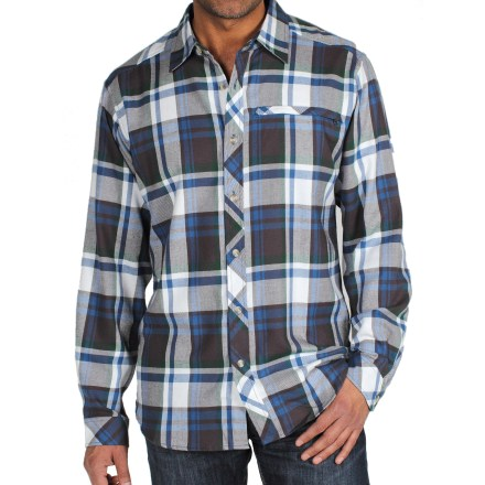 Camp and Hike Button up the travel-ready ExOfficio Pocatello(TM) Macro Plaid shirt, grab your bags and board a plane for the adventure of a lifetime. Lightweight cotton/polyester flannel blend has a soft peached finish. Mesh lining inside the back yoke provides ventilation to help keep you comfortable. Discreet zippered chest pocket stows your small travel items. ExOfficio Pocatello Macro Plaid shirt packs down small for travel. - $44.93