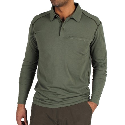 Camp and Hike Built for road trips and traveling abroad, the Exofficio Teanaway(TM) Polo shirt keeps you looking and feeling good on every adventure. Features dri-release(R) polyester/wool/spandex blend that wicks moisture, dries quickly and has the softness to keep you comfortable. Freshguard(R) odor neutralizer helps prevent bad odors from attaching to the yarns. Zippered chest pocket holds a few small essentials; interior fold-over pocket secures your house key. Shoulder seam placement is slightly forward, reducing bulk at the top of the shoulders for a more comfortable fit. The Exofficio Teanaway(TM) Polo shirt has a tagless label for itch-free comfort. Machine wash cold; tumble dry low. Classic fit is shaped to the body for mobility. - $69.93