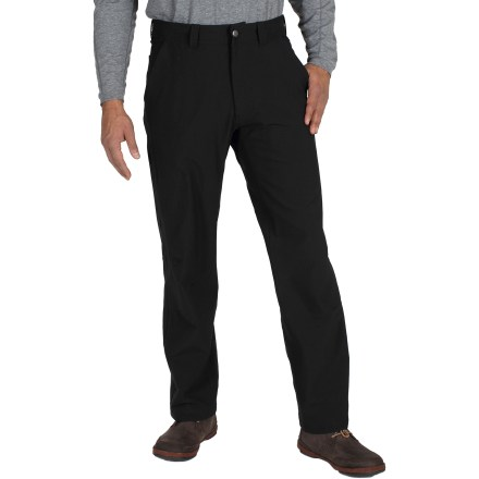 Camp and Hike Perfect for your cold-weather travels, the ExOfficio Boracade(TM) pants have a water-repellent fabric and a soft interior to keep you warm and dry. Stretchy nylon/spandex blend allows comfortable movement while you're on the go. Fabric is treated with a Durable Water Repellent finish to repel moisture and stains. 2 hand pockets, a zippered back pocket and a zippered pocket on the right leg hold your essentials; secure small valuables in the zippered pocket inside the left hand pocket. Soft brushed interior and a waistband lined with microfleece ensure you're comfortable. Inseam gusset allows unrestricted range of motion. The ExOfficio Boracade pants have a natural fit. - $49.83
