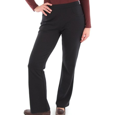 Camp and Hike The ExOfficio Go-There Jean pants offer casual style but are built to travel near and far. Polyester/cotton/spandex blend fabric wicks moisture and dries quickly for all-day comfort. Pants feature jean-style pockets and fly closure. Security zip pocket in right hand pocket. Closeout. - $41.93