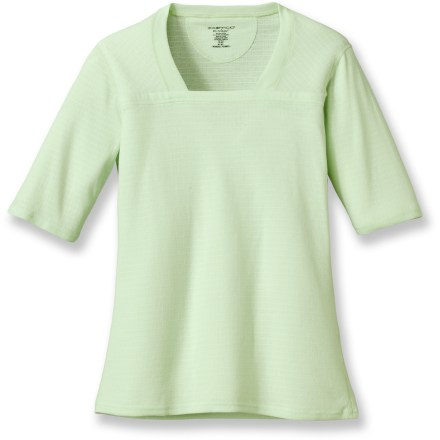 The ExOfficio Exo Dri Lattice Square Neck T-shirt brings a fresh, fun style to your travel wardrobe. Polyester/cotton/spandex blend fabric is moisture wicking and quick drying. Fabric provides UPF 15 sun protection, shielding skin from harmful ultraviolet rays. No shoulder seams for comfort when wearing a pack. Square neckline for a feminine fit. Closeout. - $15.73