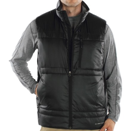 Entertainment The ExOfficio Storm Logic vest transitions from a warm vest to a travel pillow with ease, making it the perfect travel companion. Built-in stuff sack allows vest to be rolled into an adjustable travel pillow. Durable polyester fabric stands up to wear and tear. PrimaLoft(R) One patented microfiber insulation mimics the physical and thermal properties of goose down, but continues to insulate if wet. Zippered chest pocket and zippered handwarmer pockets. Cinch hem for a custom fit. Closeout. - $57.73
