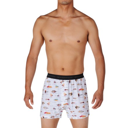 The ExOfficio Give-N-Go Fly boxer shorts are a great choice for all-day comfort. Made from a blend of nylon and spandex, the fabric wicks moisture and dries quickly. Tag-less design. Closeout. - $9.93