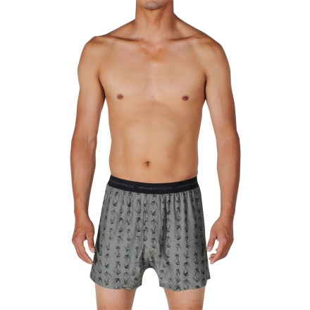 The ExOfficio Give-N-Go That's Fly boxer shorts keep you comfortable throughout the day. Made from a blend of nylon and spandex, the fabric wicks moisture and dries quickly. Tag-less design. Closeout. - $20.93