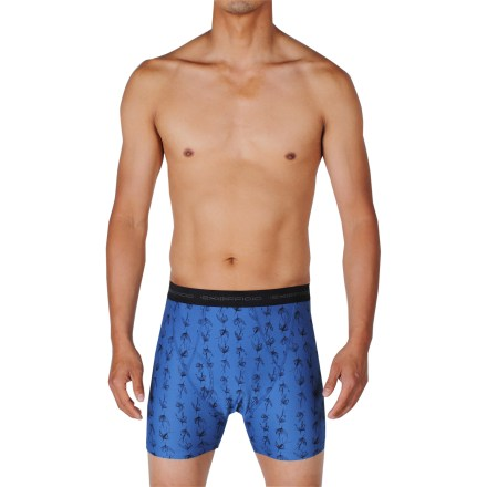 The ExOfficio Give-N-Go That's Fly boxer briefs keep you comfortable throughout the day. Made from a blend of nylon and spandex, the fabric wicks moisture and dries quickly. Tag-less design. Closeout. - $20.93