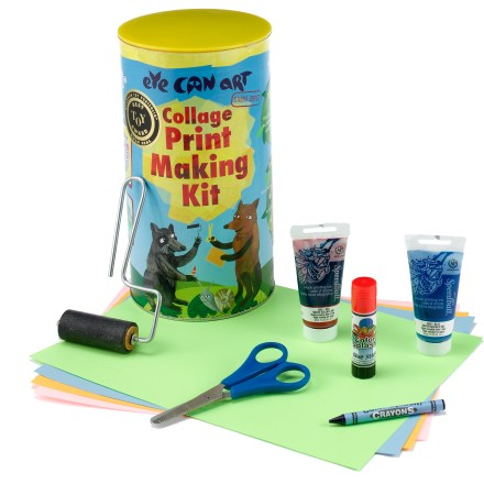 Camp and Hike The Eye Can Art Collage Print Making kit lets budding artists create imaginative prints from a collage of cut paper. Includes enough materials to create 9 or more prints. The Eye Can Art Collage Print Making kit comes with a tag board, glue stick, crayon, scissors, brayer (hand roller), printing ink, white paper, colored paper and instructions. - $13.83
