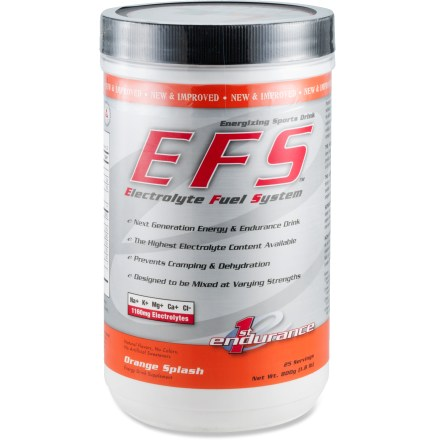 Camp and Hike First Endurance EFS sport drink helps you stay hydrated and avoid cramping to maximize your performance during exercise. EFS drink contains the highest level of electrolytes per serving available; contains 1,160mg of calcium, magnesium, chloride, sodium and potassium per serving. Also contains 700mg of malic acid per serving, which can stimulate oxygen consumption. AjiPure amino acid blend is 99 - 100% pure for fast and complete absorption. Nutrition facts displayed here and on packaging may differ; information on packaging reflects actual contents. *Discount will be applied when you check out; offer not valid for sale-price items ending in $._3 or $._9. - $17.93