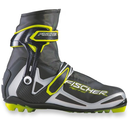 Ski Racers and serious recreational skiers look to the Fischer RC7 Skating boots for an accurate fit and high-performance features that help shave time off the next lap. Ergonomic cuffs provide good lateral support without inhibiting front and back movement. Canting function lets you set the position of the cuffs for maximum comfort and performance; key is included for making adjustments. Twin Skin concept features inner boot liners for a secure fit and outer boots for protection against cold and wet. Anatomic 3D plastic heel caps create a secure fit. Diagonally running strap in each boot increases torsional resistance and thereby supports the foot during the kick phase. Stiff-flexing R3 polyurethane soles have wide platforms that provide excellent stability while you're skating. Fischer RC7 Skating boots with NNN soles are compatible with NNN skate bindings. - $174.93
