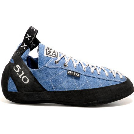Climbing The Five Ten Spire rock shoes offer out-of-the-box comfort and are a great choice for indoor and outdoor climbing. Semi-flexed, slip-lasted design offers all-around performance; low-cut profile allows ankle mobility. Stealth(R) C4 ultra-sticky rubber outsoles and rand offer exceptional grip and durable wear. Full-wrap rands and deep heel cups give extra traction for cracks, edges and smears. Breathable split-leather uppers are unlined so they conform to the shape of the foot; 2mm thick leather withstands rigorous use. Laces customize the fit. Overstock. - $57.83
