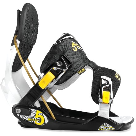 Snowboard Flow The Five snowboard bindings are a great choice for anyone looking to take their snowboarding to the next level. Molded baseplates feature a wide platform for stability and ease of entry and exit; nylon-reinforced channels channel power to the board. EVA cushioning absorbs harsh landings and high-speed chatter; toe ramps adjust for a personalized fit. Ventilated highbacks feature KushControl wrapped pads to relieve binding pressure on legs; tool-less forward lean for easy adjustments on the fly. Power Triangle design links the highbacks directly to the center area of the baseplates with a high-tension steel cable, increasing control and power transfer. I-FUSION PowerStraps serve up plenty of flex and comfort for directional riders; straps offer SpeedEntry and SideEntry for easy in and out. LockingSlapRatchet (LSR) buckles offer dual entry into bindings, either SpeedEntry or SideEntry-just slap them to open or lock them down to shred. Flow The Five bindings are compatible with Burton The Channel snowboards, disc kit is sold separately. - $132.93