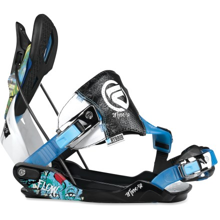 Snowboard Women riders that equally crave steep slopes and slick rails will love the Flow Minx-SE snowboard bindings. Molded baseplates feature a wide platform for stability and ease of entry and exit; nylon-reinforced channels channel power to the board. EVA cushioning absorbs harsh landings and high-speed chatter; toe ramps adjust for a personalized fit. Modback highbacks feature separated upper flexible zones and lower aluminum heelcup zones; upper zone uses independently-adjustable support panels for fine-tuned performance. Tweak.6 upper zones offer a softer flex in the top zone, and feature KushControl wrapped EVA-pads for comfort. Reclining highbacks provide easy entry and exit, and an integrated forward lean lever with tool-free snaplock adjustment; padding eliminates highback bite. Power Triangle design links the highbacks directly to the center area of the baseplates with a high-tension steel cable, increasing control and power transfer. Active HYBRID PowerCapStrap bridges the gap between traditional bindings and Flow SpeedEntry straps; 3D-shaped ankle straps diagonally cover the feet for even pressure. Ankle straps connect to toe straps for pressure distribution and energy transfer, and offer perfect boot positioning. LockingSlapRatchet (LSR) buckles offer dual entry into bindings, either SpeedEntry or SideEntry-just slap them to open or lock them down to shred. Flow Minx-SE bindings are compatible with Burton The Channel snowboards, disc kit is sold separately. - $135.83