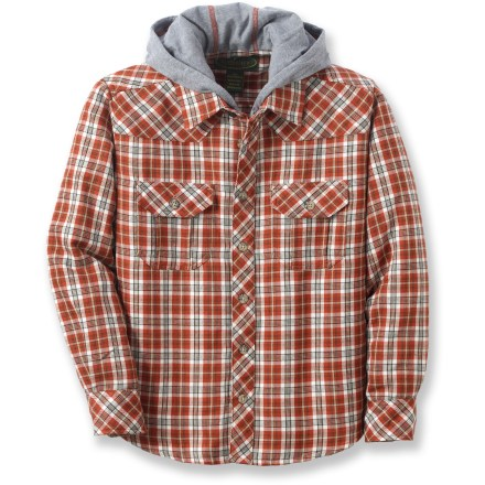 The boys' Flyshacker Quick Dry Trek flannel hoodie top combines a classic plaid shirt with the style and warm comfort of a hoodie. Plaid polyester supplies breathable and quick-drying comfort. Dual chest pockets with button flap closures stash a few small essentials. The Flyshacker Quick Dry Trek flannel hoodie top gives the appearance of a layered look, without adding bulkiness or diminished breathability. - $9.83