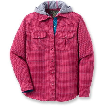 The Flyshacker Quick Dry Trek flannel hoodie top for girls combines a classic plaid shirt with the style and warm comfort of a hoodie. Plaid polyester supplies breathable and quick-drying comfort. Dual chest pockets with button flap closures stash a few small essentials. The Flyshacker Quick Dry Trek flannel hoodie top gives the appearance of a layered look, without adding bulkiness or diminished breathability. - $9.83