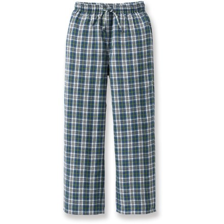 The Flyshacker Fly-Dry Super flannel pants for boys are comfortable enough for bed, but their durability and casual tailoring lets a kid wear them anytime. Polyester flannel with elastic pull-on waist and elastic cuffs makes these pants great for lounging around the house or cabin. The Flyshacker Fly-Dry Super flannel pants wick moisture and dry quickly for all-day or all-night comfort. - $12.83