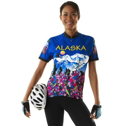 Fitness Adorned with all things Alaska such as Fireweed flower, eagles, bears, cyclists, glaciers and mountains, the women's Free Spirit Alaska Flower bike jersey is a guaranteed conversation starter! Graphics were designed by Alaska artist Kathy Sarns. Made with lightweight, soft Wick-Dry polyester fabric, jersey wicks sweat away from you and dries quickly for increased comfort. Generous 3/4-length zipper allows ventilation control. 3 back pockets handle your snacks and small essentials. Women's relaxed fit is cut shorter than men's cut and a little fuller in hips and bust; the elastic-free bottom hem ensures comfort. Raglan sleeves eliminate shoulder seams for increased range of motion and comfort. With a UPF 50+ rating, fabric provides excellent protection against harmful ultraviolet rays. Sublimated graphics are brilliantly bold yet do not inhibit breathability. - $55.93