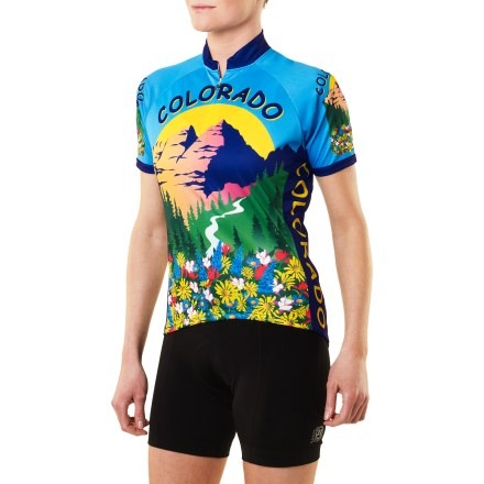 Fitness This Free Spirit Colorado women's bike jersey combines colorful eye-catching graphics with serious technical performance. Graphics were designed by Alaska artist Kathy Sarns. Made with lightweight, soft Wick-Dry polyester fabric, jersey wicks sweat away from you and dries quickly for increased comfort. Generous 3/4-length zipper allows ventilation control. 3 back pockets handle your snacks and small essentials. Raglan sleeves eliminate shoulder seams for increased range of motion and comfort. With a UPF 50+ rating, fabric provides excellent protection against harmful ultraviolet rays. Sublimated graphics are brilliantly bold yet do not inhibit breathability. Free Spirit Colorado women's bike jersey has a relaxed fit that is cut shorter than men's cut and a little fuller in hips and bust; the elastic-free bottom hem ensures comfort. - $40.83