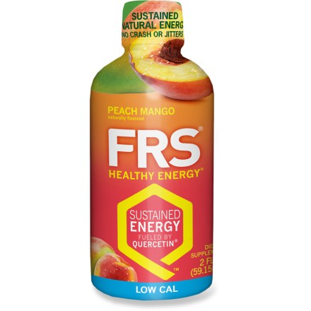 Camp and Hike Get through your everyday adventures and hard workout sessions with a little help from an FRS Energy shot. You can down the 2 fl. oz. shot for instant energy when you're on the go, or mix it with water for an energy drink that you can consume throughout the day. All flavors provide 200% of the daily value of vitamin C, 100% of vitamin E and 250mg of Quercetin per serving. Quercetin is an antioxidant found in foods such as blueberries, red apples and grapes; Quercetin may help boost energy levels to get you through your workout. Contains 35mg of caffeine, the equivalent of approximately 1/3 cup of coffee. Nutrition facts displayed here and on packaging may differ; information on packaging reflects actual contents. *Discount will be applied when you check out; offer not valid for sale-price items ending in $._3 or $._9. - $1.93