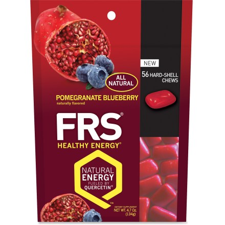 Camp and Hike FRS Hard-Shell chews are an easy, convenient way to get on-the-go energy throughout the day. Small chews feature a patented formula that contains Quercetin(R), green tea catechin and essential vitamins. Quercetin is an antioxidant found in foods such as blueberries, red apples and grapes; Quercetin may help boost energy levels to get you through your workout. All flavors provide 200% of the daily value of vitamin C, 100% of vitamin E and 250mg of Quercetin per serving. Eat 4 chews in the morning, 4 in the afternoon and whenever you need extra energy; take 30 min. before exercise. Package contains 56 FRS Hard-Shell chews. Nutrition facts displayed here and on packaging may differ; information on packaging reflects actual contents. *Discount will be applied when you check out; offer not valid for sale-price items ending in $._3 or $._9. - $18.00