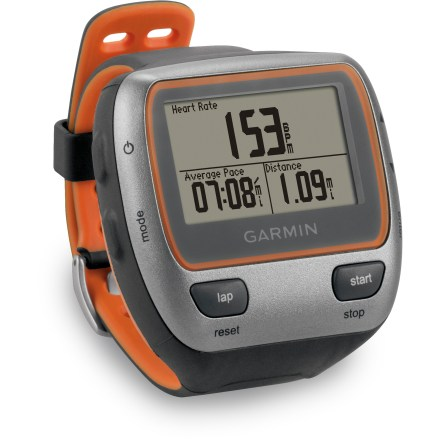 Fitness Get the training information you need for peak performance during workouts in and out of the water with the swimproof Garmin Forerunner(R) 310XT. Waterproof to 50m (165 ft.), Forerunner 310XT is an ideal training tool for triathletes who want to time their swim and get speed and distance data while running and biking. GPS satellites accurately calculate speed, distance and pace information; GPS receiver provides rapid first fix and is sensitive enough to acquire signals under cloud cover. Navigation capabilities let you mark locations, find locations or navigate back to the starting point. ANT+ wireless technology allows the Forerunner 310XT to communicate with other ANT+ enabled devices, such as PowerTap, SRM and Quarq power meters (not included). ANT+ wireless technology lets you automatically transfer data between your computer and Forerunner without even taking the watch off; compatible with Mac and PC computers. Use the Garmin Connect community website to track your time, speed, distance and calories burned; store and share routes with other Forerunner users on the website. Website also allows users to categorize and design workouts based on activity-prior workouts can be saved by day and week designations. Wireless data transfer can be used to send courses, goals and workouts from your computer to the Forerunner 310XT before heading out for a jog. You can also share workout information and compete against other users' recorded courses by wirelessly transferring data to other Forerunner 310XT units nearby. 20 hr. battery life provides accurate pace, speed and distance data for ultra endurance athletes; features a rechargeable lithium-ion battery. Optional foot pod (sold separately) transmits speed/distance data without the use of satellites, so the Forerunner 310XT can also be used indoors. - $169.93