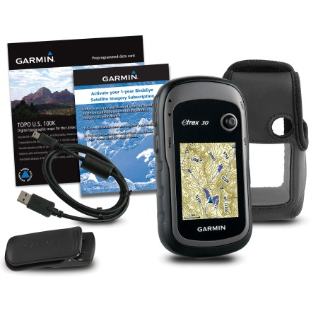 Camp and Hike This value-priced bundle combines the user-friendly eTrex 30 with TOPO U.S. 100K mapping, a 1-year BirdsEye Satellite Imagery subscription and a handy carrying case. - $91.93