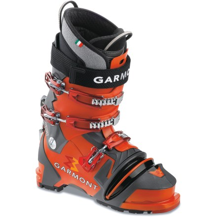 Ski Garmont Prophet NTN telemark boots are a free-heel skier's dream. They feature a smooth forward flex, alpinelike torsional rigidity and a round toe for easy walking. Power Wrap anatomic shells are constructed around the shape of the foot and have been prepunched to accommodate common irregularities of skiers' feet. 100% Pebax(R) plastic construction provides high stiffness and power without a lot of weight; Pebax plastic maintains a consistent flex in all temperatures. NTN boots do away with the duckbill traditionally found on telemark boots, making walking and scrambling easy; boots are compatible only with NTN bindings (sold separately). Lace-up custom-moldable liners feature 4 different foam thicknesses and densities throughout to provide the best possible comfort and support. Strobel-stitch design in the liners allows feet to sit flat for good anchoring within the liners; design also maximizes forefoot width. T-Bar Pebax(R) tongue reinforcement on the liners enhances shin protection and helps you power forward into turns; pull loops on the front and rear ease entry and exit. 3 Wide-Open buckles and catches on each boot close easily and securely; buckles swing completely open for unrestricted touring while still being held in place by the catches. Wide rip-and-stick power straps wrap securely around the outside of the cuffs, distributing pressure and bringing the cuffs as close as possible to your lower legs. Rear walk/ski mechanisms are simple and secure; flip the levers to the ski position for a locked-down forward lean position at 25deg. Replaceable, high-density nylon bellows protectors guard against sharp ski edges. Garmont Prophet NTN telemark boot soles feature replaceable NTN binding interfaces, something only offered by Garmont. See an REI ski shop professional to have the liners custom molded to your feet to maximize comfort and performance. - $349.83