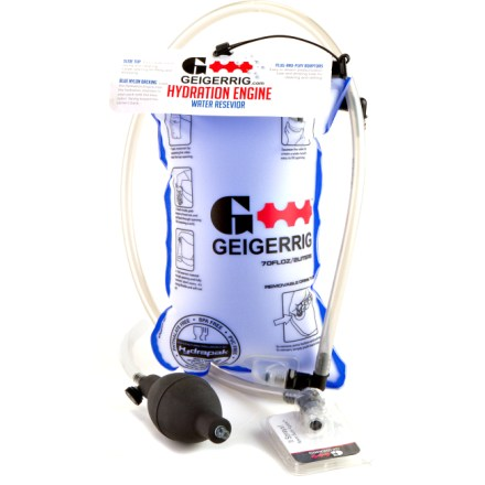 Camp and Hike When you're gasping for breath and in dire need of drink, use the pressurized 68 fl. oz. GEIGERRIG Hydration Engine reservoir to spray water into your mouth with a simple squeeze or bite of the valve. Other reservoirs require that you suck on a tube to get a drink; the GEIGERRIG reservoir can be pressurized with the included pressure bulb to allow for convenient spraying. Spraying makes drinking, cooling off, cleaning and sharing water simple. Filling the GEIGERRIG is easy-simply slide the top off, open the reservoir and fill it from a faucet or a high-mountain stream. Top of the reservoir opens wide for easy filling and cleaning; GEIGERRIG reservoir can by cleaned on the top shelf of your dishwasher. Quick-release valves let you remove the drinking tube and pressure tube whenever you want to refill or clean reservoir. On/off switch on the bite valve prevents leaks. GEIGERRIG Hydration Engine reservoir is made out of tough thermoplastic urethane that withstands regular use. - $48.00