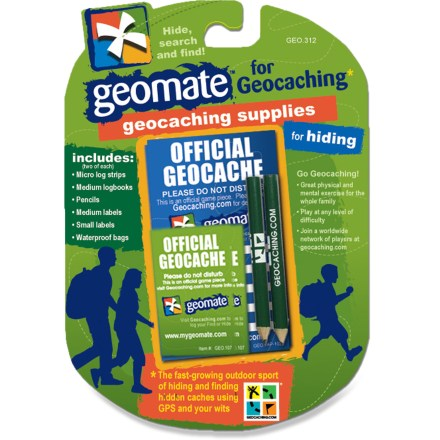 Camp and Hike The Geomate Geocaching supply kit offers the perfect assortment to help equip you for geocaching fun. Kit includes 2 each of micro log strips, medium logbooks, pencils, medium labels, small labels and waterproof bags. - $3.83