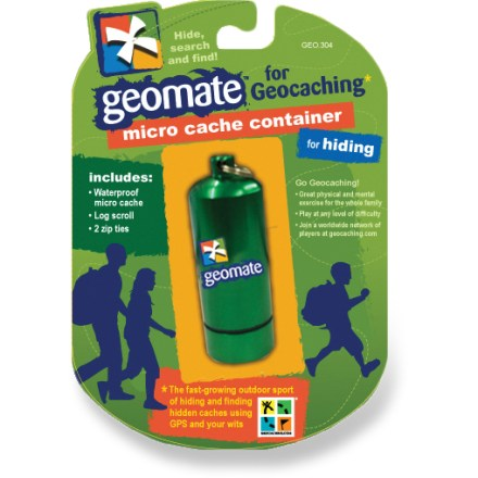 Camp and Hike The Geomate Geocaching Micro cache container lets you add a little extra challenge for geocachers. Its diminutive size lets you hide it almost anywhere! Watertight design with rubber gasket protects contents from moisture and dirt. Geomate logo identifies the capsule as a genuine geocache container. Capsule measures 2.25 x 0.75 in. The Geomate Geocaching Micro cache container can also be used for carrying your keys with the attached split ring. - $3.83