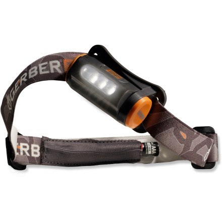 Camp and Hike Whether you're hanging around the campsite or hiking back to the car after an all-night adventure, the Gerber Bear Grylls headlamp lights up the night and keeps your hands free. 3 LEDs output a bright flood beam that illuminates objects up to 19m away on high and 7.25m on low; LEDs output 30 lumens on high and 8 lumens on low. 1 AAA battery (included) powers the headlamp for up to 15 hrs. on low and 8.75 hrs. on high. Headlamp tilts to point light where you need it; adjustable elastic headband holds the light securely in place. Pocket on the headband holds an extra AAA battery (second battery not included). The Gerber Bear Grylls headlamp weighs 3.9 oz. - $16.83