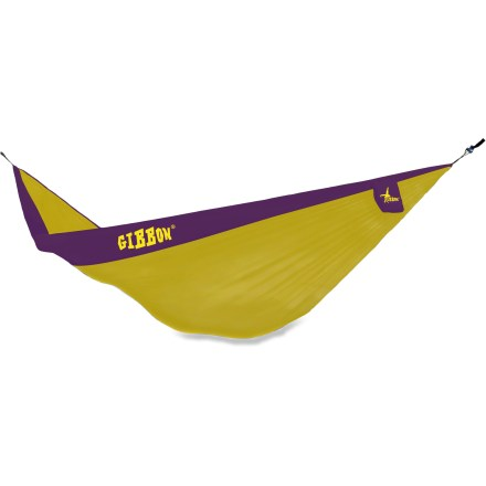 Camp and Hike The Gibbons Double hammock sets up quick, and offers a great place for you and a friend to hang out. Parachute nylon fabric is lightweight yet strong. Tree-friendly hanging system helps get your hammock up quick. Attached stuff sack is a great place to store your hammock when not in use. Closeout. - $41.93
