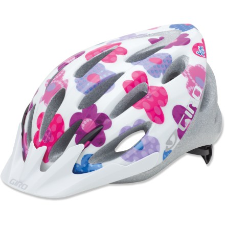 Fitness The Giro Flume is just about the coolest helmet around-with easy-to-adjust features, durable construction and groovy graphics, it's no wonder it's so popular! In-mold helmet construction bonds a flyweight shell to high-performance expanded polystyrene foam liner for an excellent strength/weight ratio. Acu-Dial(TM) fit system offers single-handed fit adjustment, plus variable fit anchor points and height adjustment for a truly personalized fit and feel. 20 vents allow cool, fresh air to circulate over and around child's head, and lets hot, stale air escape. Removable snap-fit visor shields eyes from sun. - $29.93