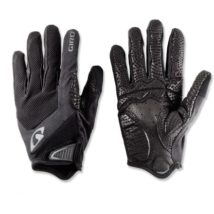 Fitness The Giro Monaco full-finger bike gloves are a great choice for cool temperatures and premium hand protection in a light package. Super Fit(TM) engineering process tailors gloves to match the shape and size of the hand, resulting in superior comfort and performance. 3-panel palm construction significantly minimizes bunching while enhancing bar grip and feel. Pittards(R) vented leather palms, fingers and thumbs are breathable, water resistant, extremely abrasion resistant and supple. 3mm gel-padded palms absorb impact and increase comfort without compromising dexterity. Back of gloves features breathable, moisture-wicking fabric with 4-way stretch. Soft and highly absorbent fabric on the thumbs gives you a gentle place to wipe your nose and brow. Cuffs feature a rip-and-stick strap closure that hugs wrists for a secure fit; sonic-welded pull tab provides easy on/off. - $29.93
