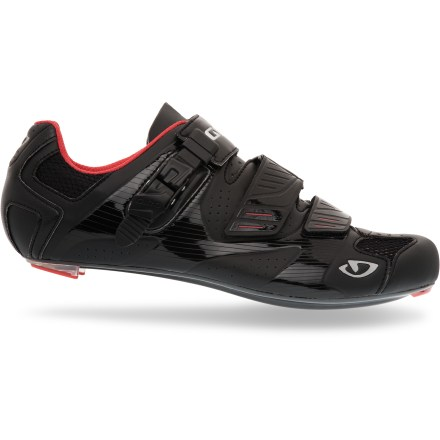 Fitness Giro Factor road bike shoes offer a personalized fit with the adjustable arch support system and carbon soles to enhance pedal efficiency and comfort over the long haul. - $71.83