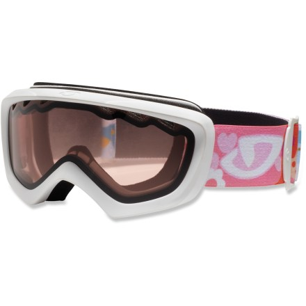 Ski The Giro Chico(TM) goggles for girls offer fun-enhancing features and a great fit. Youth size offers a wide field of vision and ensures compatibility with a wide range of helmets. Vented lens and antifog coating helps reduce moisture buildup in goggles. Plush face foam seals out the elements and is finished with a wicking microfleece. Vermillion lens heightens detail and increases contrast in flat light; allows 57% visible light transmission. Blocks 100% of the sun's harmful UV rays. Giro recommends the Chico snow goggles for children ages 2 - 5. - $14.83