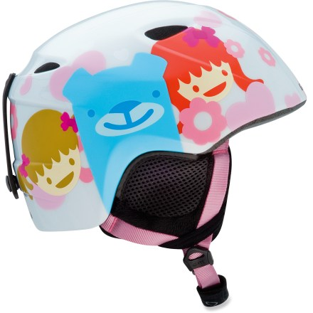 Ski The fun and comfortable girls' Giro Slingshot snow helmet gives your young ones the essential protection they need. In-mold helmet construction simultaneously fuses a tough polycarbonate shell to a shock-absorbent foam liner to produce a helmet with high impact resistance and low weight. 4 vents work together to move cool, fresh air through the helmet while radiating heat and stale air out. Fit system features outrigger arms and an adjustment dial to fine-tune the fit; dial is easily operated, even with gloves on. Flexible pad at the base of the fit system conforms to head shape for a plush, personalized fit. Internal height adjustment compensates for different head shapes and goggles sizes. The girls' Giro Slingshot snow helmet provides a soft, cozy interior that helps keep kids warm and comfortable. This snow helmet complies with ASTM F 2040 and/or CE EN 1077 alpine ski and snowboard helmet safety standards; for additional information please see REI expert advice. - $29.83